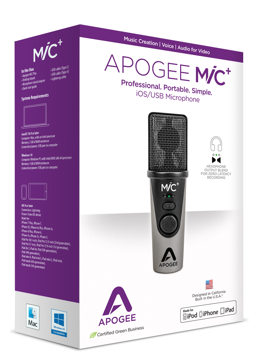 Specifications - MiC - Apogee Electronics
