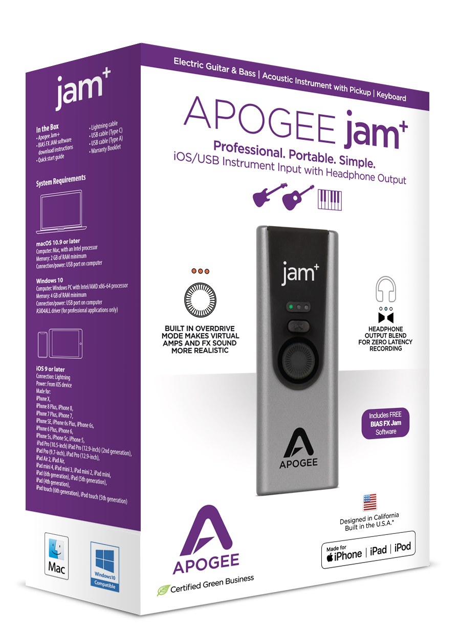JAM - Guitar Interface for iPad & Mac - Apogee Electronics