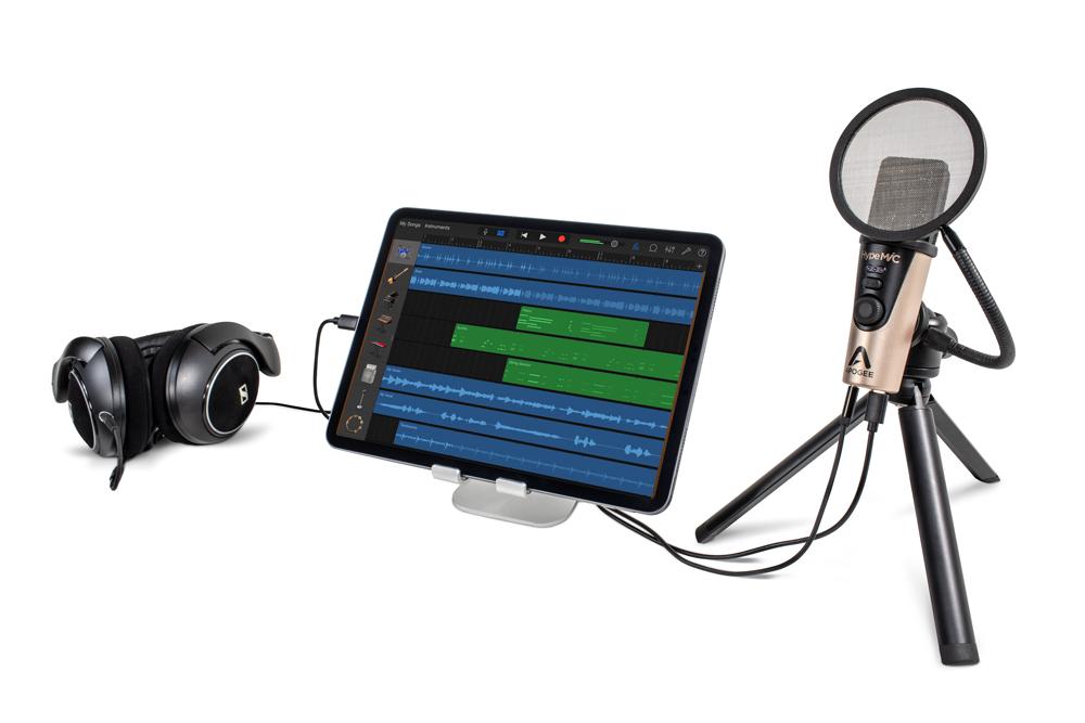 Apogee-HypeMiC-Tripod-3-Pop-Filter-Quarters-iPad-Headphones
